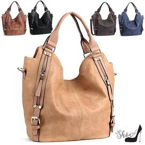 Zippered Large Hobo Double Compartment Bag